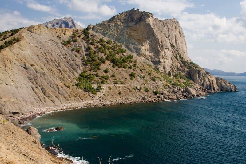 Blaue Bucht und Meerblick schleppen Golitsyn, Markstein Krim, neue Welt stockfoto