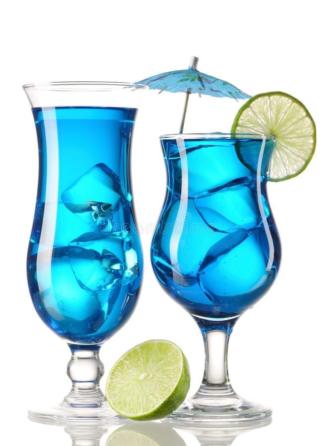 Blaue Curaçao-Cocktails lizenzfreie stockbilder