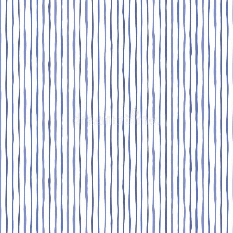 Blaue dünne Handgezogene gewellte ungleiche vertikale Streifen auf weißer Backrgound-Vektor-nahtlosem Muster Klassische Zusammenf vektor abbildung
