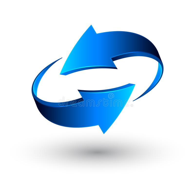 Blaue 3d Pfeile, Vektor stock abbildung