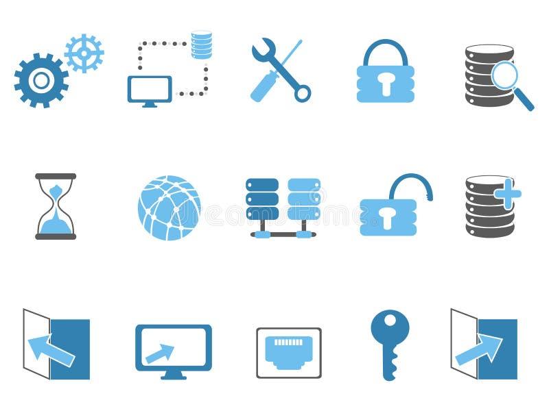 Blaue Datenbanktechnologieikonen eingestellt vektor abbildung