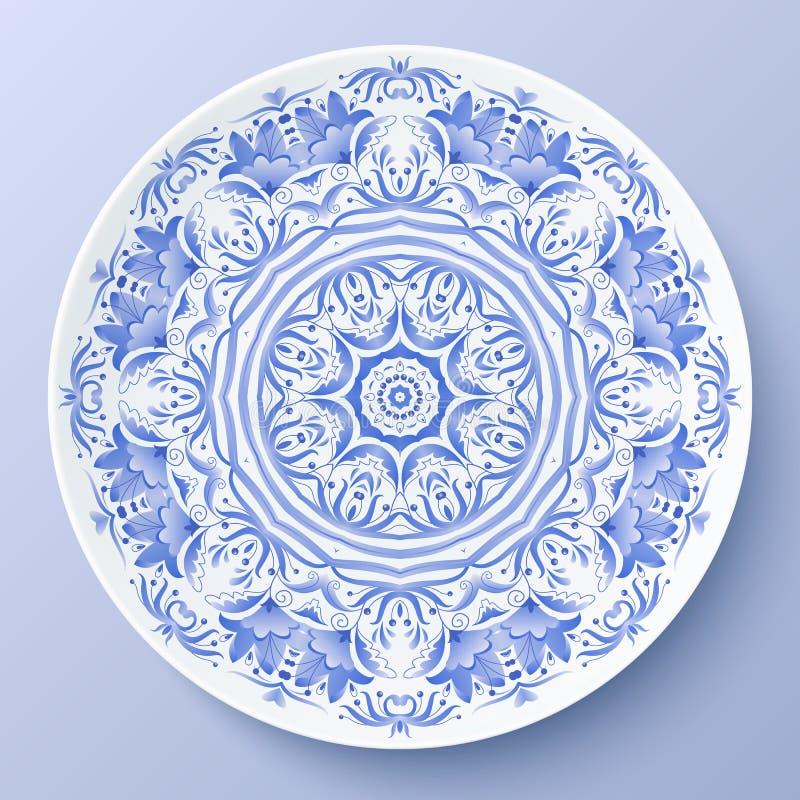 Blaue dekorative Platte der Vektorblumenverzierung vektor abbildung