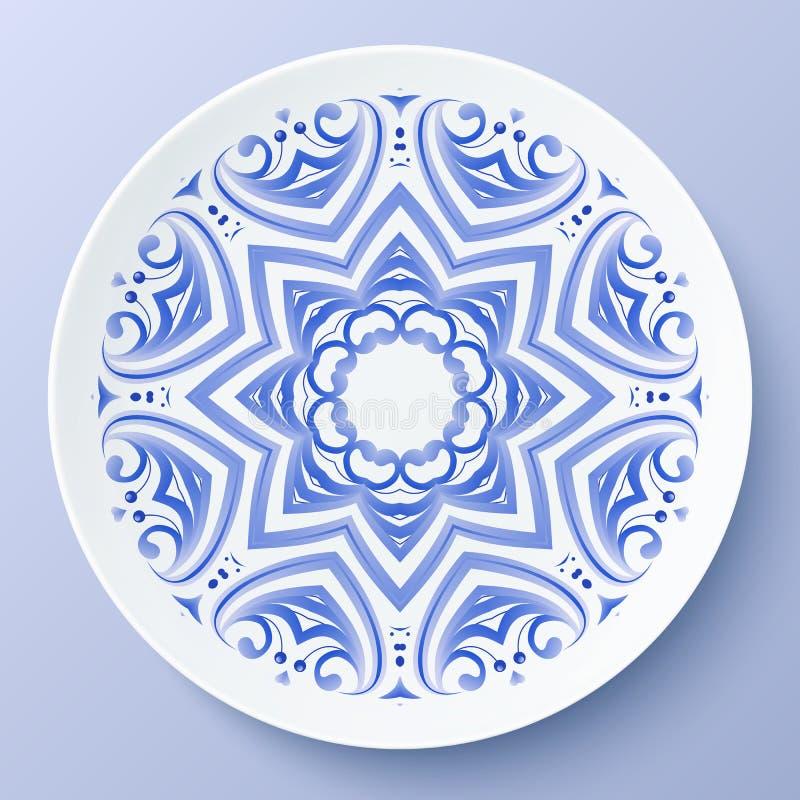 Blaue dekorative Platte der Vektorblumenverzierung lizenzfreie abbildung