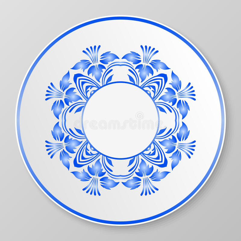 Blaue dekorative Platte des Vektors vektor abbildung