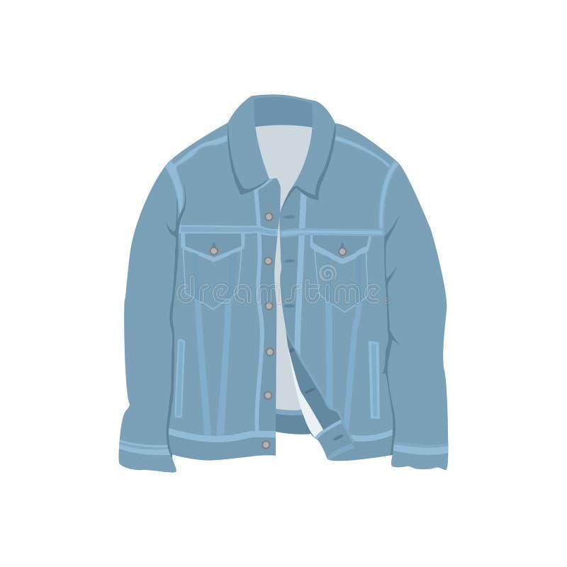 Blaue Denim-Jacken-Mode-Art-Einzelteil-Illustration vektor abbildung