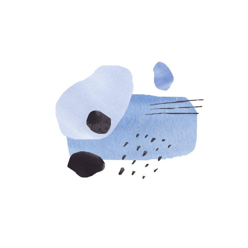 Blaue der handgemalten Aquarellzusammenfassung große und schwarze Flecken und Bürstenanschläge lokalisiert auf weißem Hintergrund lizenzfreie abbildung