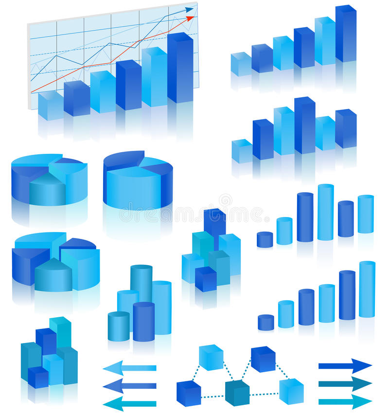 Blaue Diagramme eingestellt vektor abbildung