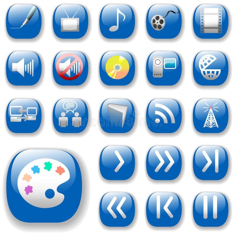 Blaue Digital-Media-Kunst-Ikonen vektor abbildung
