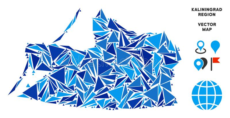 Blaue Dreieck-Kaliningrad-Regions-Karte stock abbildung