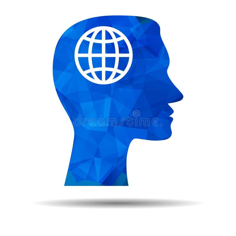 Blaue Dreieckdesignikone mit menschlichem Kopf, Gehirn und Kugel lizenzfreie abbildung