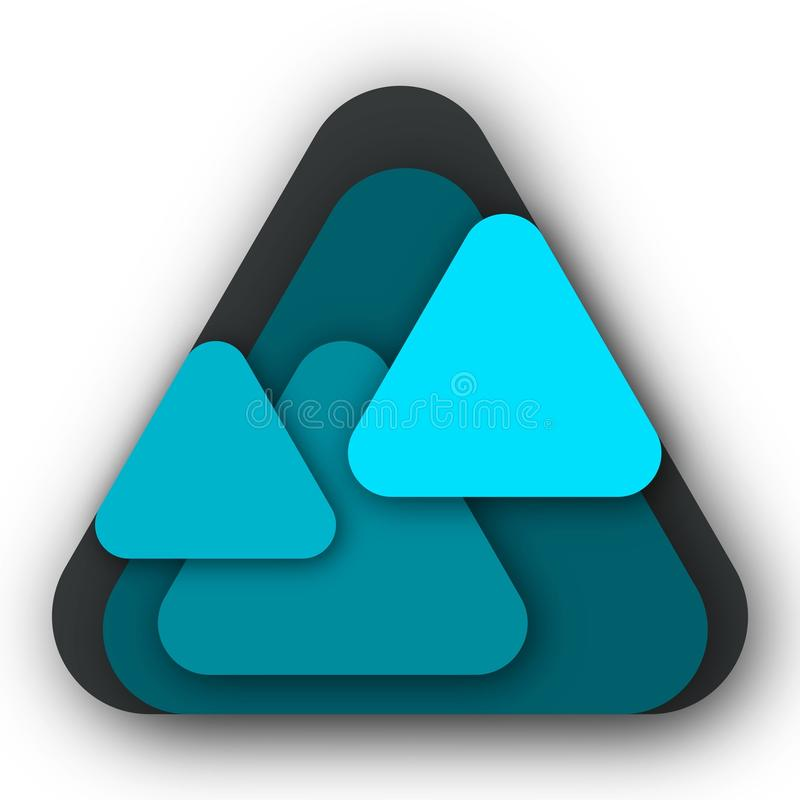 5 blaue Dreiecke Logo Idea Design stockfotos