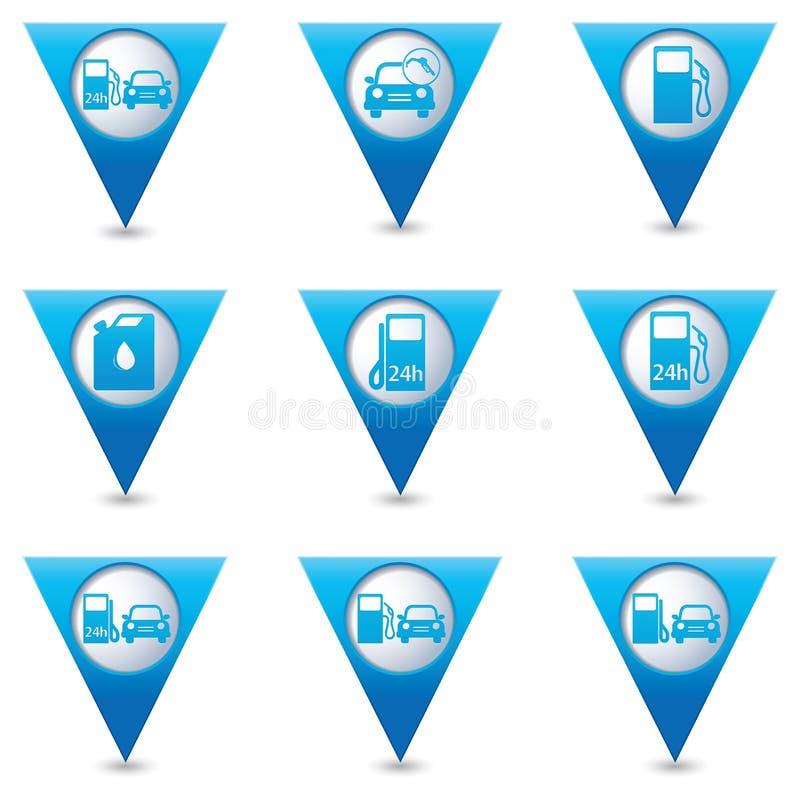Blaue dreieckige Kartenzeiger mit Tankstelleikonen stock abbildung