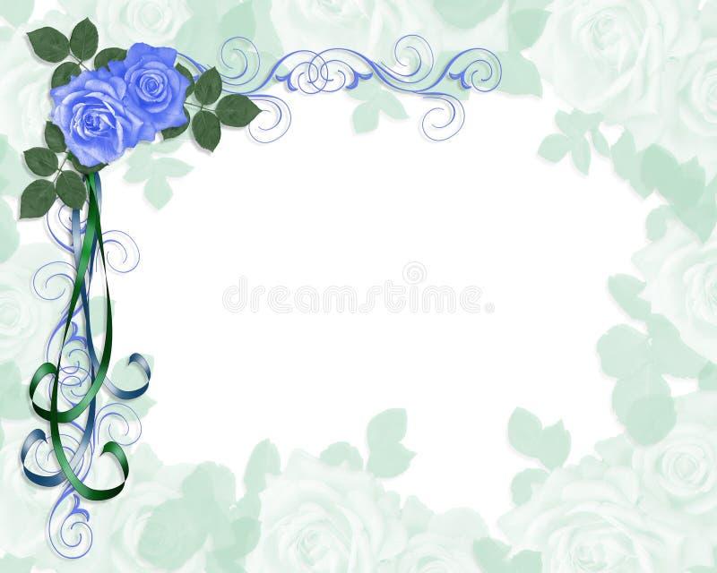 Blaue Ecke Rosen der Hochzeitseinladung lizenzfreie abbildung