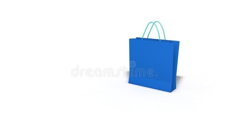 Blaue Einkaufstasche auf Weiß, 3d übertragen stock abbildung