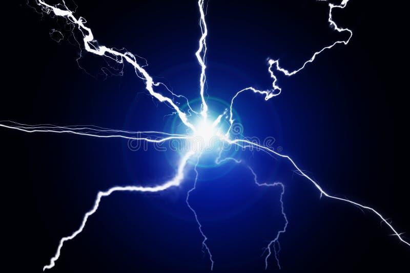 Blaue Energie-Strom-Plasma-Energie-knisternde Fusion stockbild