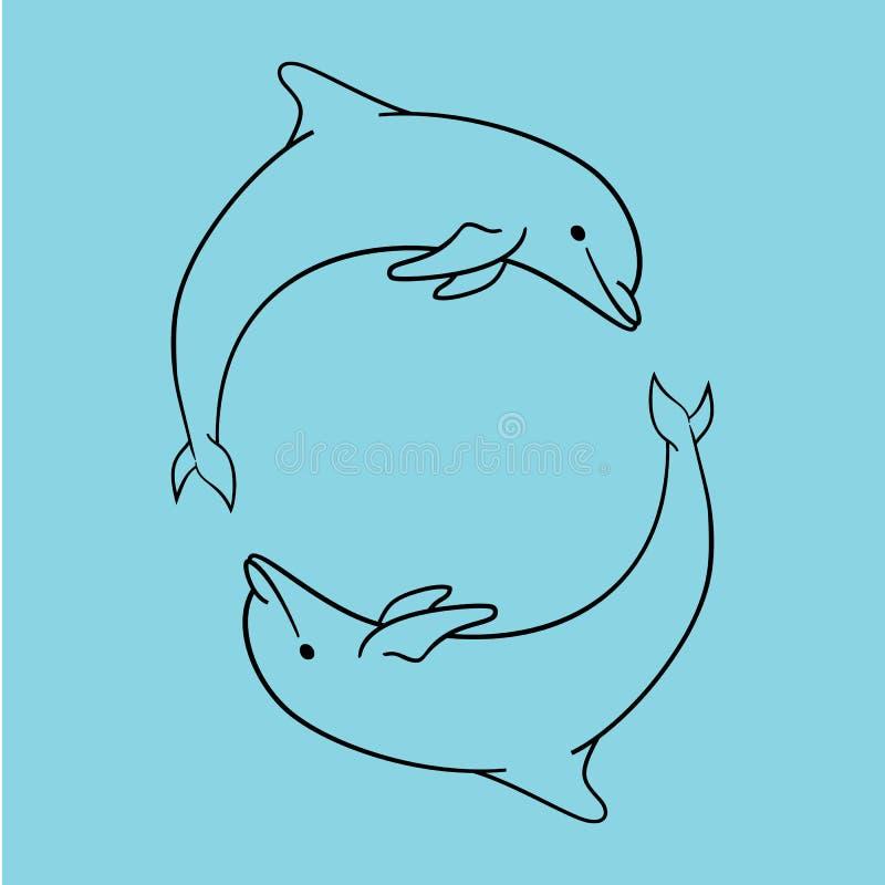 Blaue Entwurfsart der Delphinikone lokalisiert stock abbildung