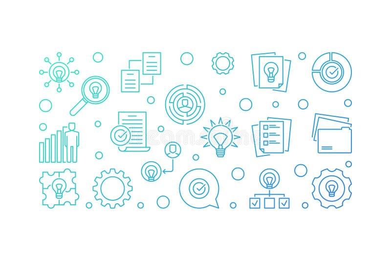 Blaue Entwurfsillustration oder -fahne des Geschäfts-Ideenvektors stock abbildung