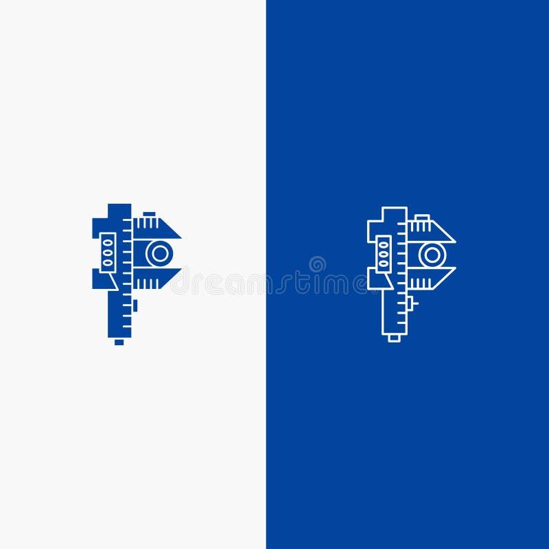 Blaue Fahne der blauen Fahne des Maßes, kleiner, kleiner der Linie und des Glyph festen der Ikone Messens, der Genauigkeit, Ikone stock abbildung