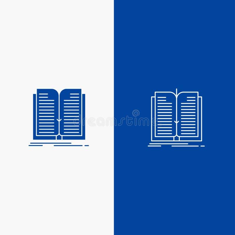 Blaue Fahne der blauen Fahne der festen Ikone der Anwendung, der Datei, des Übergangs-, der Buch-Linie und des Glyph Ikone Linie  stock abbildung