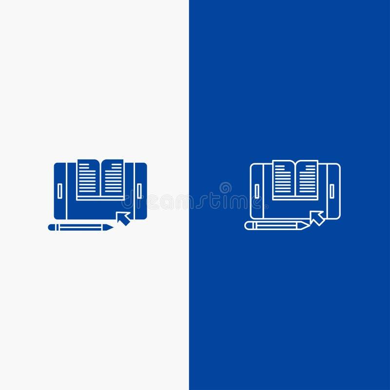 Blaue Fahne der blauen Fahne der festen Ikone der Anwendung, der Datei, Smartphones, des Tablets, der Transferstraße und des Glyp stock abbildung