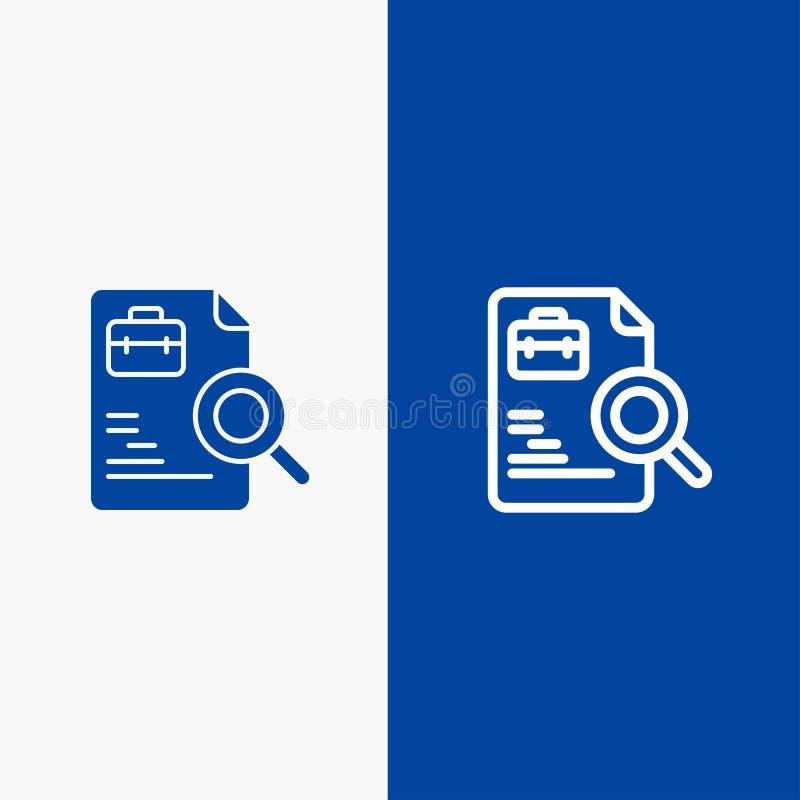 Blaue Fahne der blauen Fahne der festen Ikone der Arbeitskraft, des Dokuments, der Suche, der Job-Linie und des Glyph Ikone Linie vektor abbildung