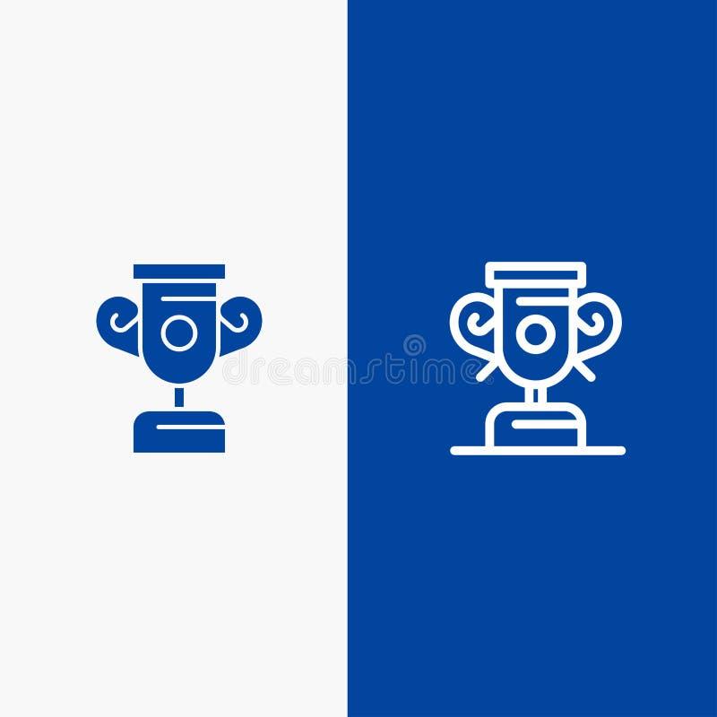 Blaue Fahne der blauen Fahne der festen Ikone der Ausbildung, des Fortschritts, der Trainings-Linie und des Glyph Ikone Linie und vektor abbildung