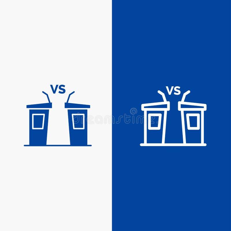 Blaue Fahne der blauen Fahne der festen Ikone der Debatte, der Demokratie, der Wahl, des Politikers, der Sprecher-Linie und des G lizenzfreie abbildung