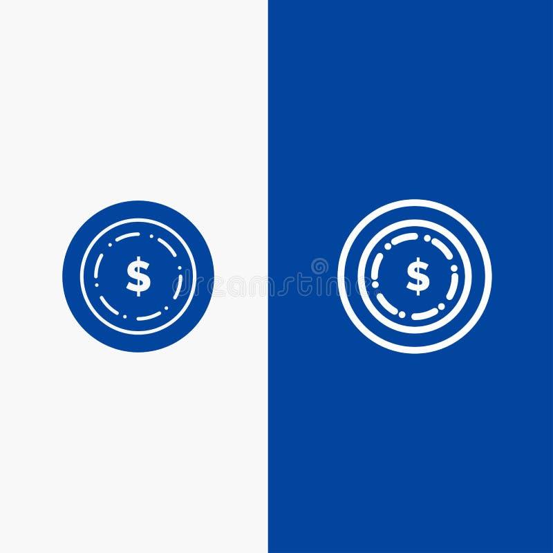 Blaue Fahne der blauen Fahne der festen Ikone des Amerikaners, des Dollars, der Geld-Linie und des Glyph Ikone Linie und Glyph fe lizenzfreie abbildung