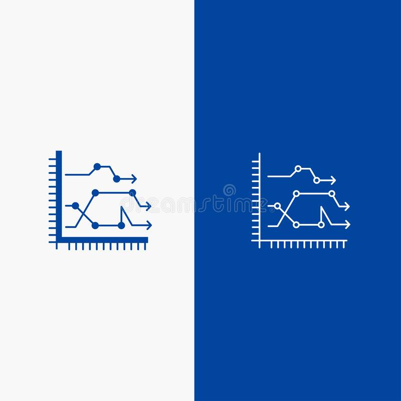 Blaue Fahne der blauen Fahne der festen Ikone des Analytics, des Geschäfts, des Diagramms, des Diagramms, des Diagramms, der Tend stock abbildung