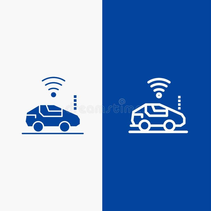 Blaue Fahne der blauen Fahne der festen Ikone des Autos, des Autos, Wifi, der Bus-Leitung und des Glyph Ikone Linie und Glyph fes lizenzfreie abbildung