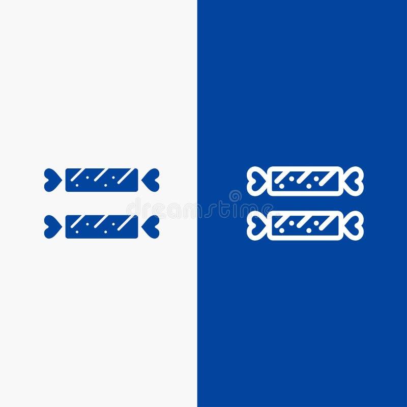 Blaue Fahne der blauen Fahne der festen Ikone des Bonbons, der Süßigkeit, Ostern, der Feiertags-Linie und des Glyph Ikone Linie u vektor abbildung