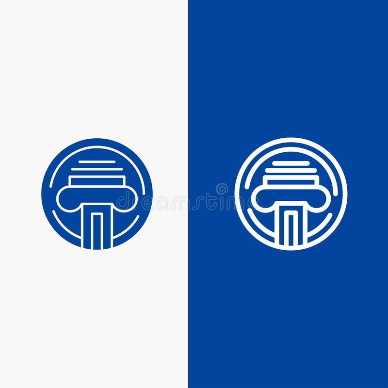 Blaue Fahne der blauen Fahne der festen Ikone des Druckers, der Art, der Schreibmaschine, des Verfassers Line und des Glyph Ikone vektor abbildung