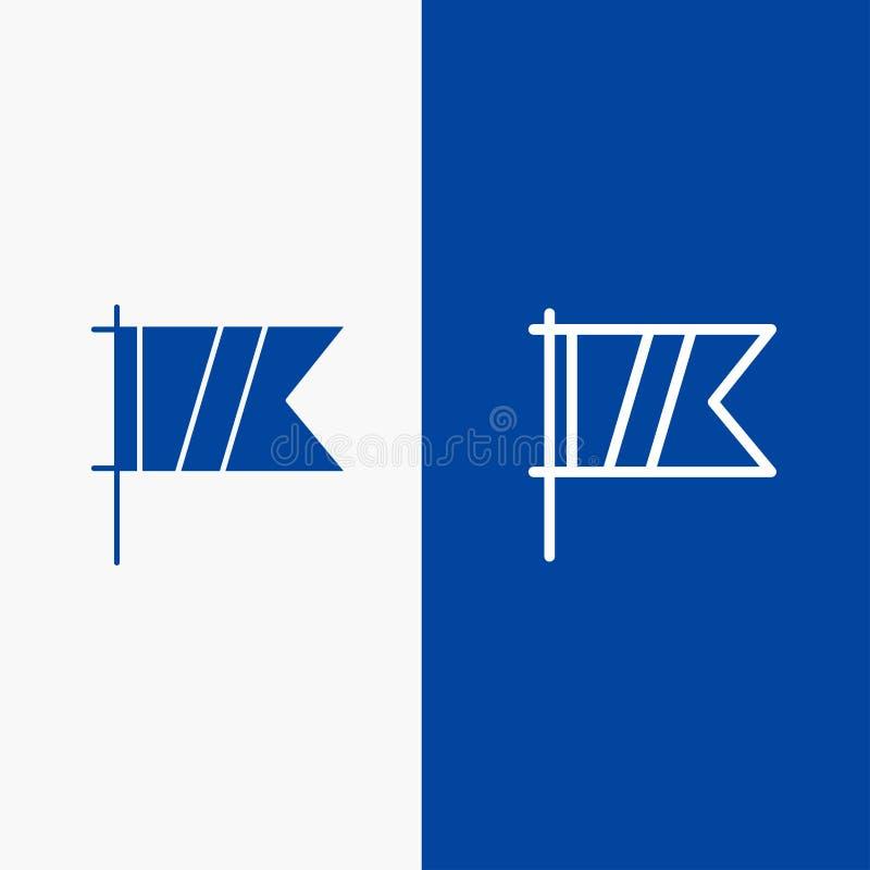 Blaue Fahne der blauen Fahne der festen Ikone des Golfs, des Zeichens, des Sports, der Flaggen-Linie und des Glyph Ikone Linie un vektor abbildung
