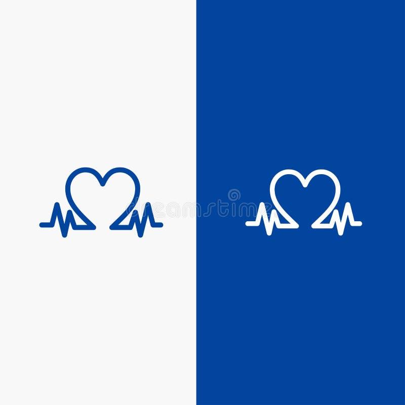 Blaue Fahne der blauen Fahne der festen Ikone des Herzschlags, der Liebe, des Herzens, der Hochzeits-Linie und des Glyph Ikone Li lizenzfreie abbildung
