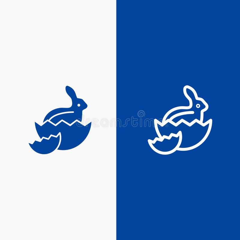 Blaue Fahne der blauen Fahne der festen Ikone des Kaninchens, Ostern, des Babys, der Natur-Linie und des Glyph Ikone Linie und Gl lizenzfreie abbildung
