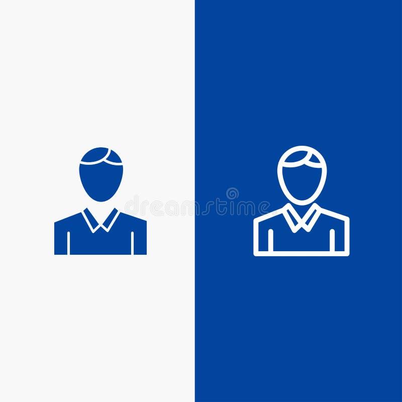 Blaue Fahne der blauen Fahne der festen Ikone des Kontos, des Menschen, des Mannes, der Personen-Linie und des Glyph Ikone Linie  vektor abbildung