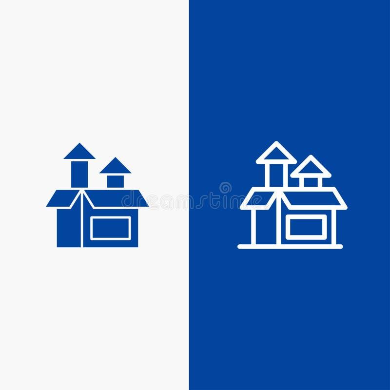 Blaue Fahne der blauen Fahne der festen Ikone des Managements, der Methode, der Leistung, der Produktserie und des Glyph Ikone Li stock abbildung