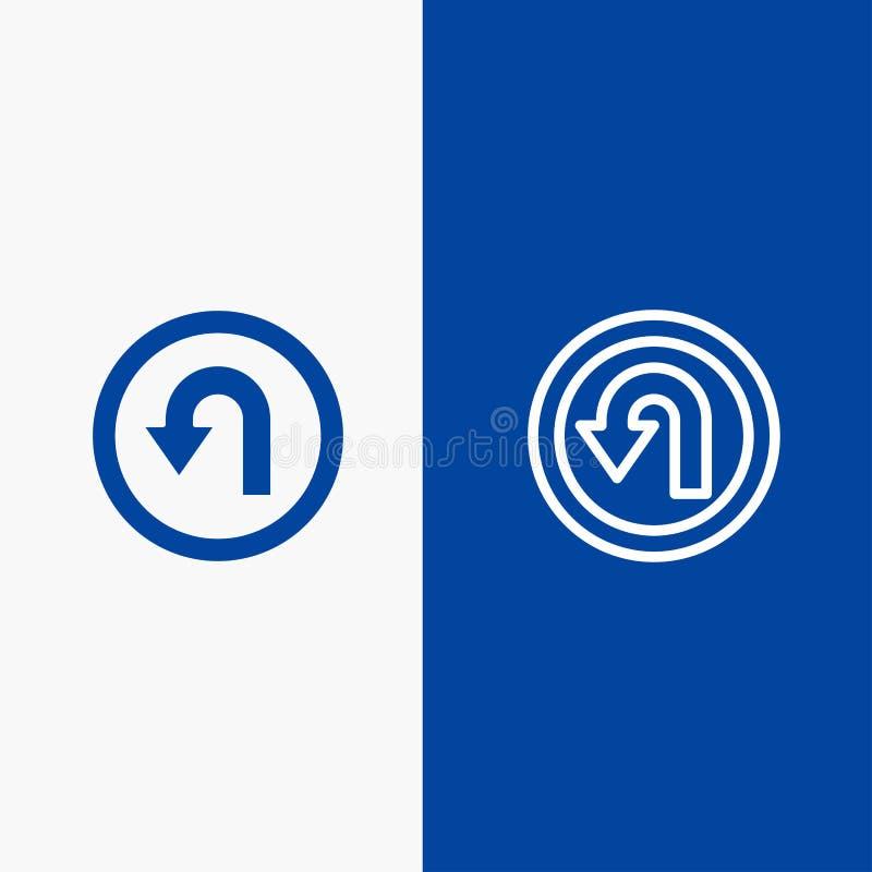 Blaue Fahne der blauen Fahne der festen Ikone des Pfeiles, der Rückseite, der Navigation, der Weisen-Linie und des Glyph Ikone Li stock abbildung