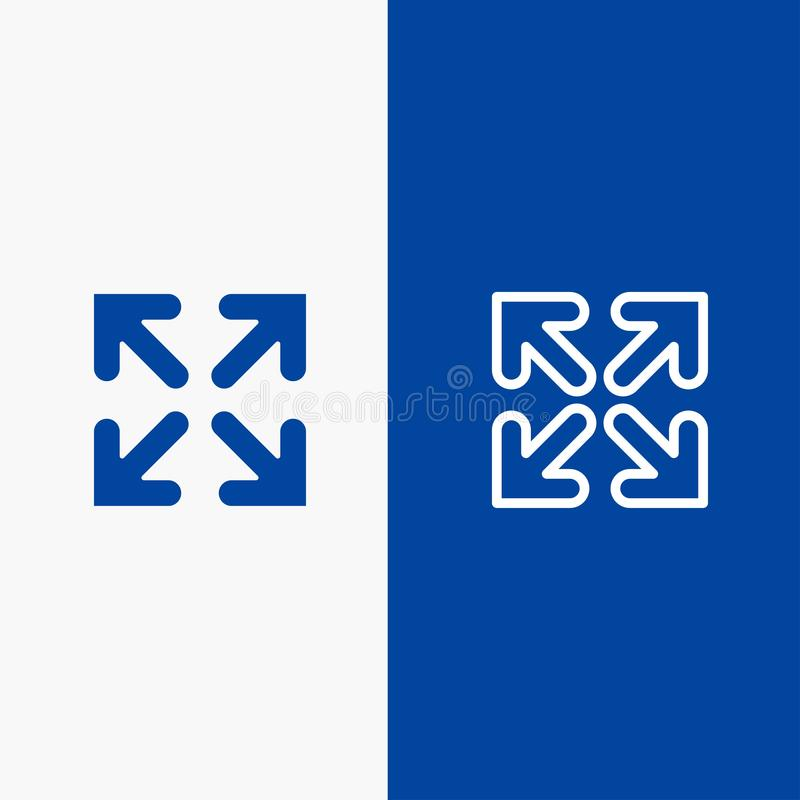 Blaue Fahne der blauen Fahne der festen Ikone des Pfeiles, der Richtung, der Bewegungs-Linie und des Glyph Ikone Linie und Glyph  stock abbildung