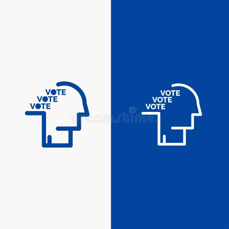 Blaue Fahne der blauen Fahne der festen Ikone des Stimmzettels, der Wahl, der Abstimmung, des Referendums, der Sprache-Linie und  lizenzfreie abbildung