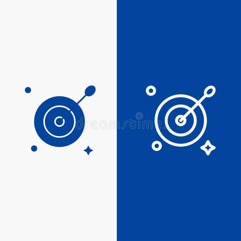 Blaue Fahne der blauen Fahne der festen Ikone des Ziels, des Zieles, der Pfeil-Linie und des Glyph Ikone Linie und Glyph festen vektor abbildung