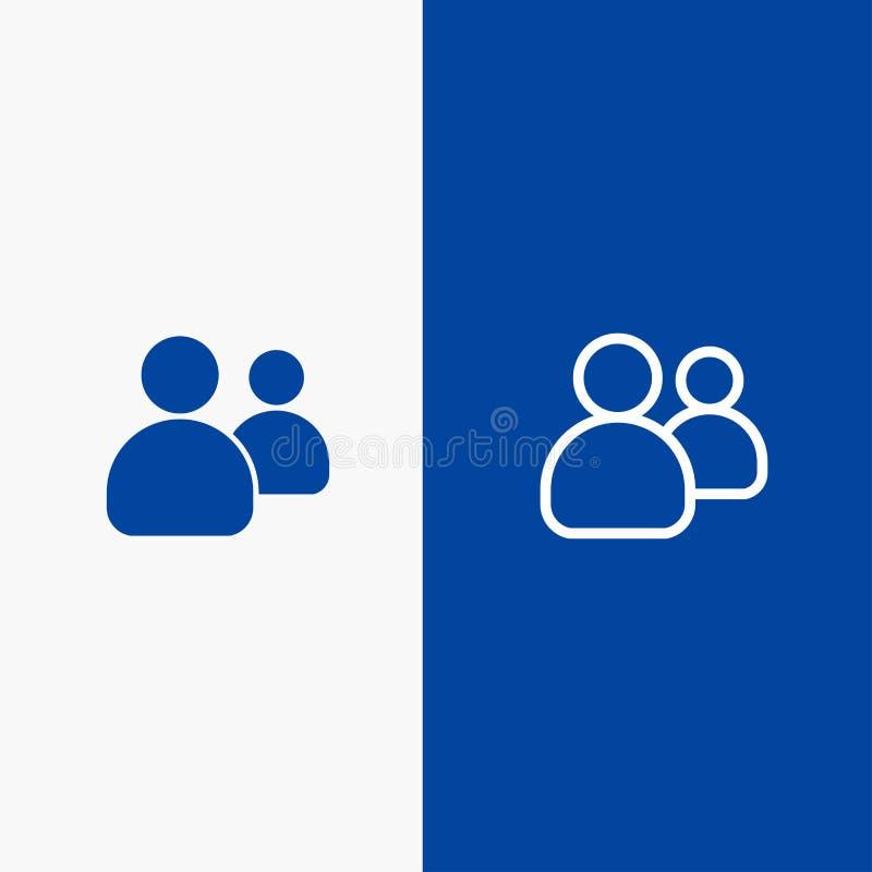 Blaue Fahne der blauen Fahne der festen Ikone der Freunde, der Gruppe, der Benutzer, Team Lines und des Glyph Ikone Linie und Gly vektor abbildung