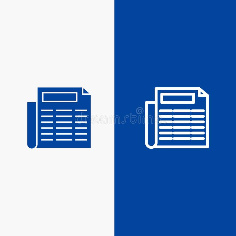 Blaue Fahne der blauen Fahne der festen Ikone der Nachrichten, des Papiers, der Dokumenten-Linie und des Glyph Ikone Linie und Gl stock abbildung