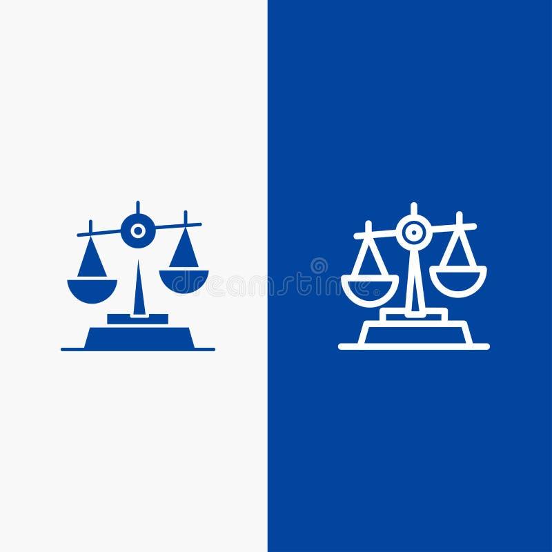 Blaue Fahne der blauen Fahne fester Ikone Gdpr, der Gerechtigkeit, des Gesetzes, der Symmetrielinie und des Glyph Ikone Linie und stock abbildung