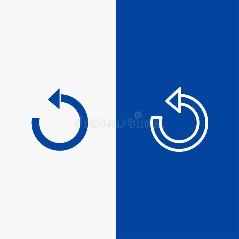 Blaue Fahne der blauen Fahne neu erneuern Sie, laden Sie, drehen Sie, wiederholen Sie der Linie und des Glyph der festen Ikone Ik lizenzfreie abbildung