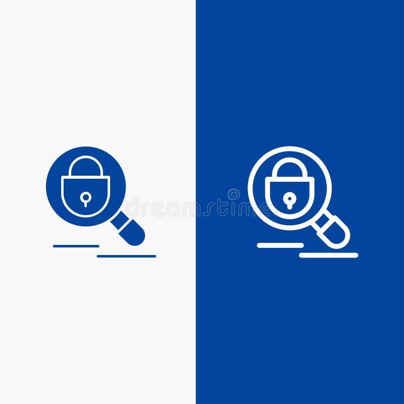 Blaue Fahne der blauen Fahne der Such-, der Forschung, des Verschlusses, der Internet-Linie und des Glyphfesten Ikone Ikone Linie stock abbildung