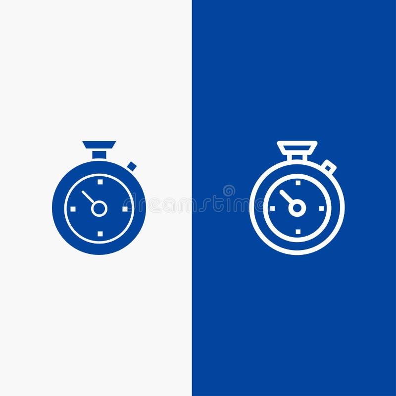 Blaue Fahne der festen Ikone des Kompassses, des Timers, der Zeit, der Hotel-Linie und des Glyph lizenzfreie abbildung