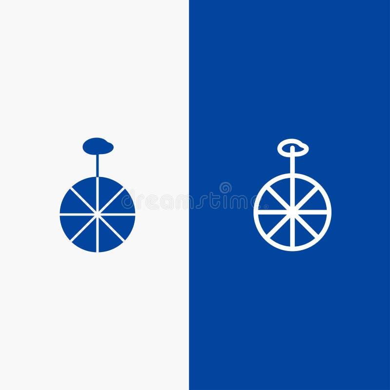 Blaue Fahne der festen Ikone des Rades, des Zyklus, der Zirkus-Linie und des Glyph lizenzfreie abbildung