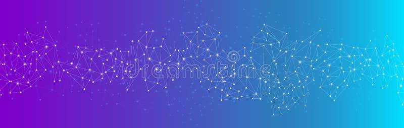 Blaue Fahne der globalen Kommunikation mit Netz lizenzfreie abbildung