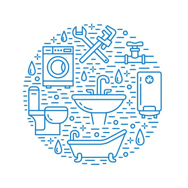 Blaue Fahnenillustration des Klempnerarbeitservices Vector Linie Ikone der Hausbadezimmerausrüstung, Hahn, Toilette, Rohrleitung lizenzfreie abbildung